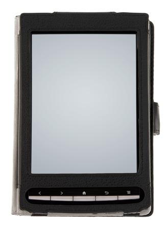 fiestas electronicas: Negro de libros electr�nicos con pantalla en blanco en una cubierta aislada en blanco Foto de archivo