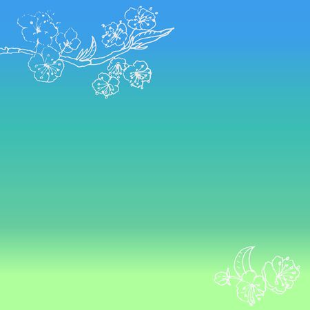 Gradient bright background with white doodle flowers.