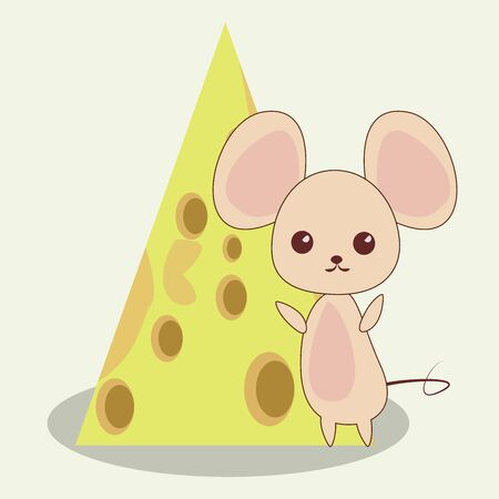 Cute little mouse in kawawii design near big cheese. Vector illustration isolated on white background.