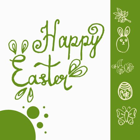 Bright doodle design vector greeting card for Easter celebration. Illustration in green colour with handdraw lettering Happy Easter.