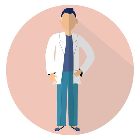 Graphic Simple flat design illustration in vector design. Men doctor standing. Character medical worker.