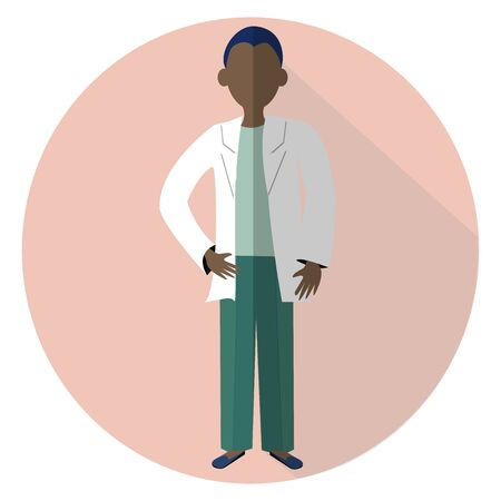 Graphic Simple flat design illustration in vector design. Afro men doctor standing. Character medical worker.