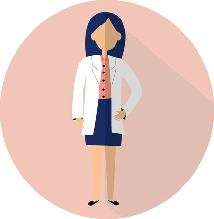 Graphic Simple flat design illustration in vector design. Woman doctor standing. Character medical worker.