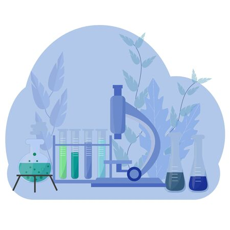 Science laboratory research concept. Chemistry, biological graphic vector design with microscope, different tubes. Stock Illustratie