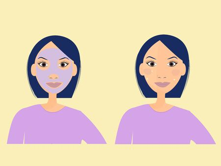Cosmetology concept, flat illustration in vector design. Woman with facial skincare mask. Stock Illustratie