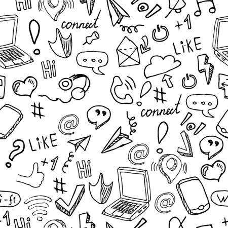 Seamless pattern with social media and networking, symbols on white background. Vector illustration in line art style