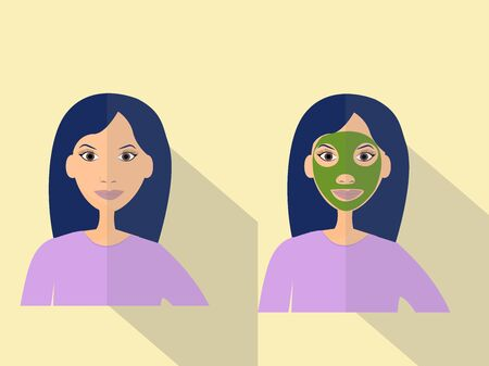 Cosmetology concept, flat illustration in vector design. Young Woman with facial skincare mask.