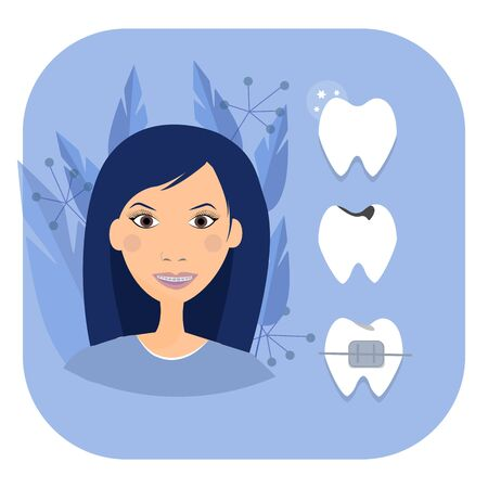 Smiling woman face with braces, tooth's, dental healthcare concept. Aesthetic beauty. Orthodontic Vector graphic design