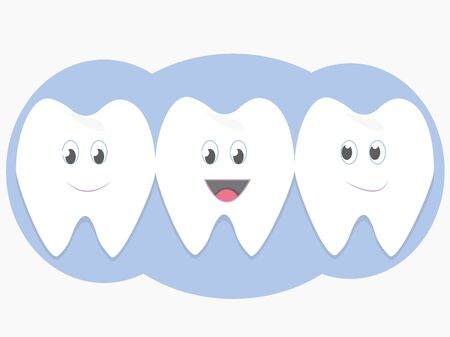 Cute cartoon characters teeths, happy, clean and smiling. Dental care in vector design. Friendly and childish. Isolated on white background 向量圖像