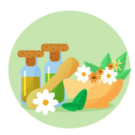 Homeopathic medicine herbal illustration in flat vector design. Bottles with oil, extract, flowers of chamomile and calendula