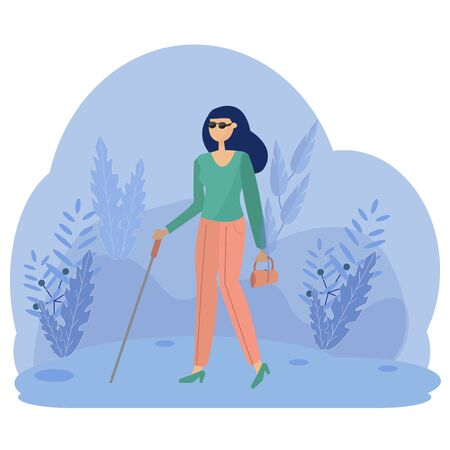 Blind Woman in vector design, Young Person With Disability Living Full Live. Activity concept in flat style