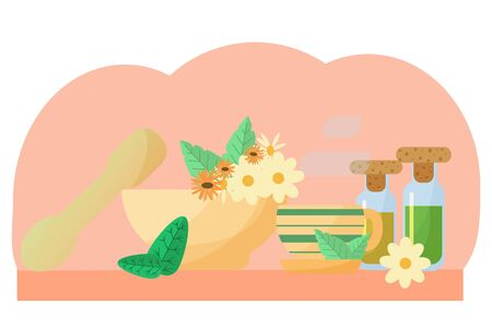 Homeopathic medicine herbal illustration in flat vector design. Bottles with oil, extract, flowers of chamomile and calendula, cup of organic tea