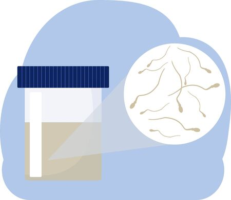 Sperm in a test container for donation. Sperm bank concept. Flat vector icon. Vettoriali