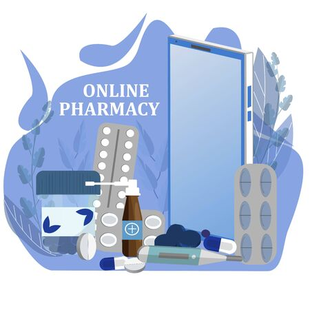 Concept vector illustration of online pharmacy with smartphone, pills, thermometer in flat design