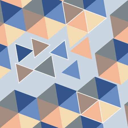 Abstract blue trend seamless pattern in vector. Modern illustration with triangles in different colours Фото со стока - 140891703