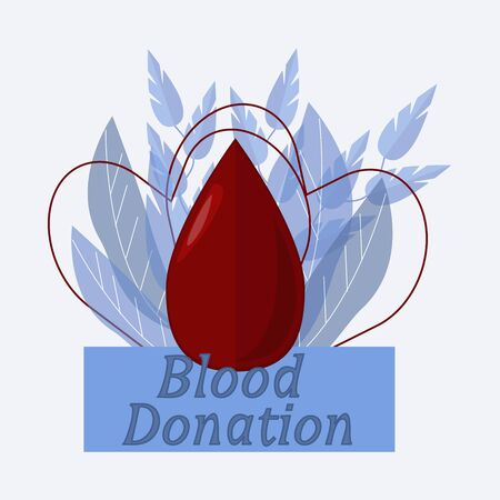 Elegant Blood donation illustration in flat design in vector with drop of blood, hearts and leaves for decoration. Save life concept