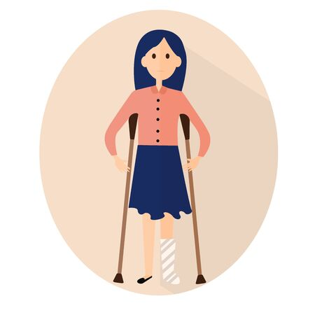 Woman with fracture of leg. Flat vector illustration. Medical, orthopedic graphic design. sad character with trauma and pain Stock Illustratie