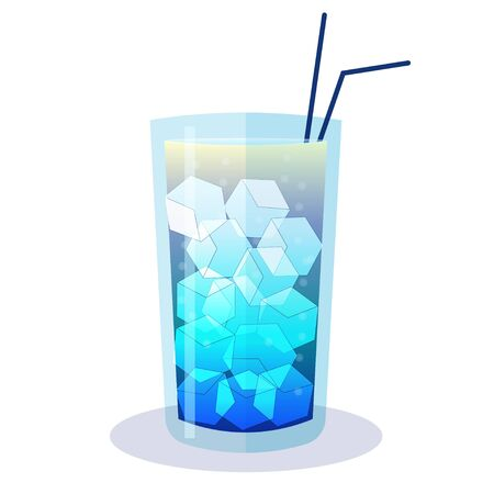Blue cocktail with ice in vector design. Graphic illustration, party relax concept. Isolated on white background. Can be used for menu 矢量图像