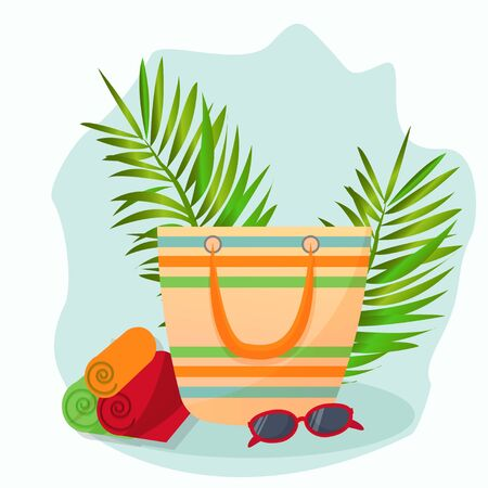 Travel, adventure, beach essentials. Bag for beach resting with sunglasses and towel's. Bright sunny vector illustration in flat style. Decorated with tropical plants. Isolated on white background.