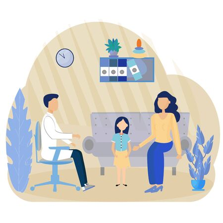 Examination by Pediatrician. Pediatric department in Hospital with Woman Doctor and Child during Examination. Doctor and Baby. Medical Vector Illustration in Flat style. Vector Illustration