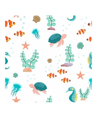 Marine seamless pattern with aquarium, underwater inhabitants in vector design. Graphic illustration with seahorse, turtle, starfish, seashell, clown fish, bubbles and plants.