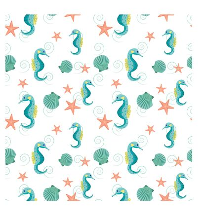Aquarium, ocean seamless pattern with seahorse, seashell, starfish in elegant colours in vector design. Fashion calm ornament. Underwater wildlife.