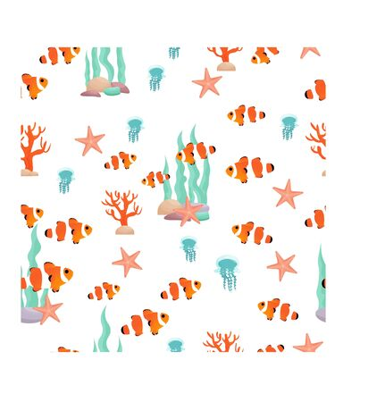 Silhouette compositions with clown fish, starfish and underwater plants, corals seamless pattern in vector design. Graphic illustration in harmonic trend colours.