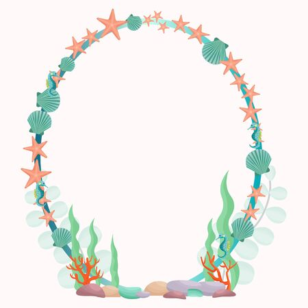 Oval marine, sea frame in vector design. Decorated with starfish, shell, stones, underwater plants. Elegant composition for design 向量圖像