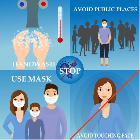 Information, prevention tips from viruses. Wash hands, wear a mask, avoid public places, don't touch face. Dangerous epidemic illness. Steps to stay healthy