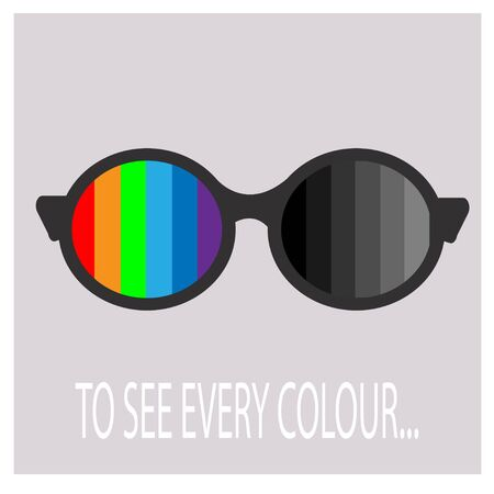 Color blindness concept vector illustration. Glasses with different colours with one side and in grey colours in another. Test, examination, healthcare