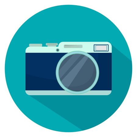 Illustration of camera in flat design with long shadow in vector. Object on blue circle on white background. Graphic modern detailed, stylish print, icon.
