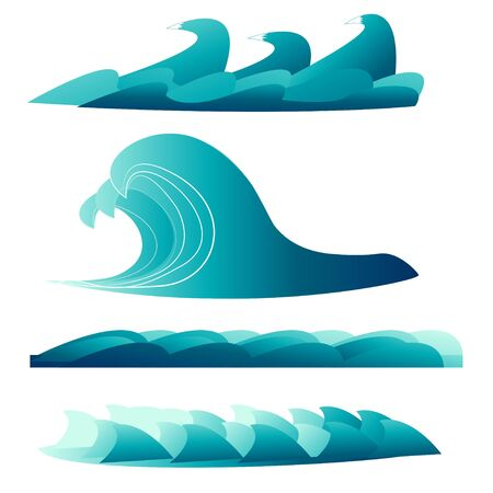 Set of sea, ocean waves in vector design isolated on white background. Graphic artistic, abstract illustration with curves, splash.