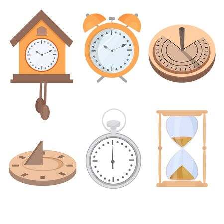 Set of solar clock, alarm clock, hourglass isolated on white background. Six graphic objects stock vector illustration. Digital creative equipment for measure time. Vecteurs