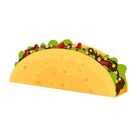 Taco stock vector illustration in flat style. Typical mexican food, traditional meal, snack, isolated on white background. Taco fast food. Ilustração