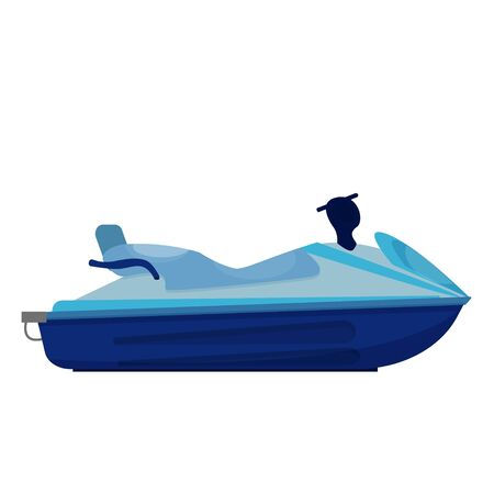 Jet ski, watercraft isolated on white background vector stock illustration. Graphic object, detailed in flat style. Summer, ocean lifestyle, modern transport for extreme hobby