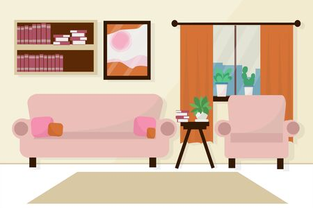 Bright, modern interior of living room with comfortable sofa, books, plants in vector design. Cozy home, indoor Illustration. Flat style.