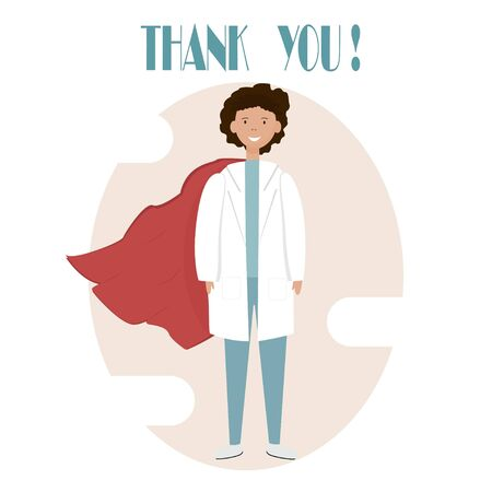 Superman doctor flat style in vector design. thank you heroes text for healthcare support. heroic super doctor. brave doctors & nurses in outbreak coronavirus. save & rescue Corona virus pandemic