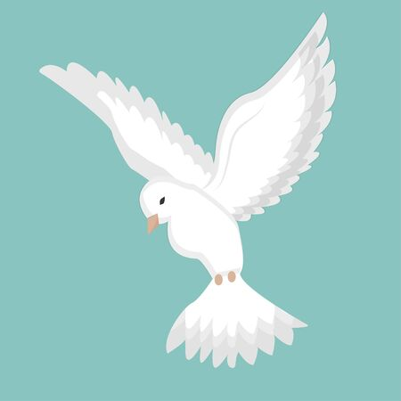 Dove, pigeon flight in white colour stock vector illustration. Peaceful bird, elegant and silhouette. Graphic talisman of purity. Ilustracja