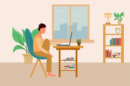 Man sitting in cheir in comfortable position using laptop. Interior living room. Stock vector illustration with books, plants and cat. Freelance, education concept.