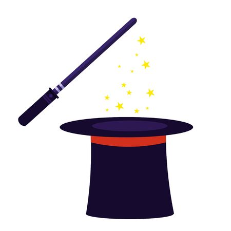 Magic hat and wizard stick isolated on white background stock vector illustration. Magical, Illusionist show, performance. Graphic object, clipart.