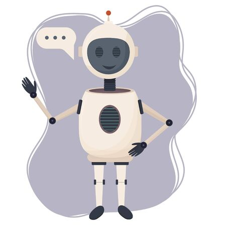 Positive character chat bot, robot standing isolated on white background stock vector illustration. Communication assistant, intelligence machine with bubble.  向量圖像