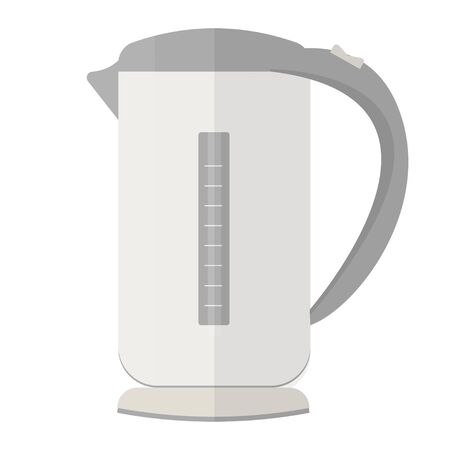 Electric kettle in flat style in vector design. Graphic illustration of kitchen equipment, domestic device isolated on white background.