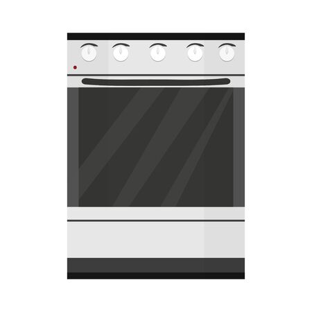 Kitchen stove, equipment for cooking isolated on white background stock vector illustration. Flat style, graphic object in light colours.