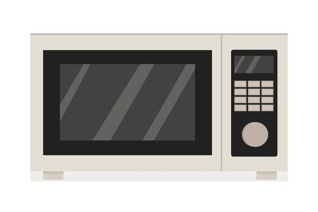 Microwave in grey colours in vector design. Graphic illustration of kitchen equipment, electronic modern device in flat style. Object isolated on white background Ilustração