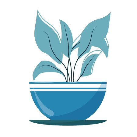 Trendy stylish plant in pot in blue colours isolated on white background stock vector illustration. Modern decorative object, element, colorful emblem 向量圖像