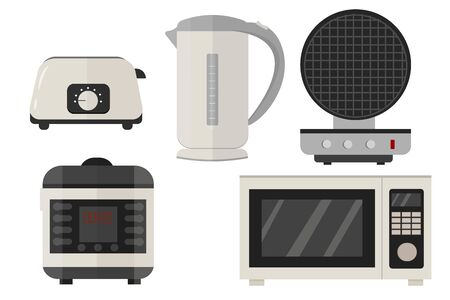 Slow cooker, electric kettle, toaster, microwave, waffle iron set in vector design. Graphic illustration of kitchen equipment in grey colours isolated on white background.