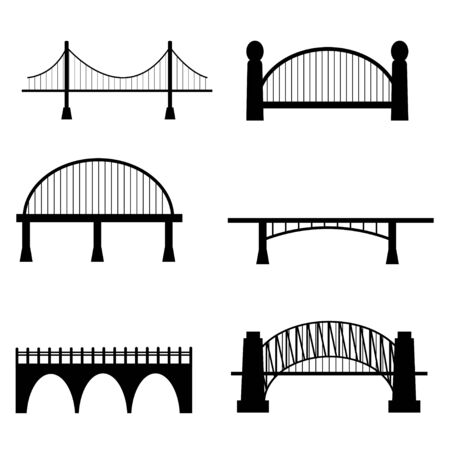 Set of six types of bridge in cuontuor black colour isolated on white background stock vector illustration. Collection urban clipart