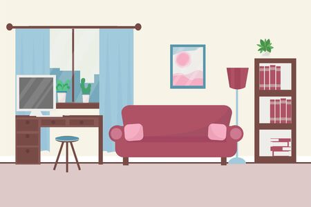 Interior with sofa, window, working place with computer, decorated with books and plants in vector design. Graphic composition in bright colours of cozy living room.