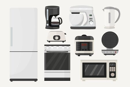 Big set from kitchen equipment. Refrigerator, stove, microwave, slow cooker, toaster, waffle iron, mixer, coffee machine isolated on white background stock vector illustration in grey colours.. Ilustração
