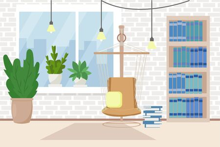 Loft, light, cozy interior with hammock chair decorated with books, plants vector stock illustration. Graphic composition of living room, indoor relax. Staying at home concept 向量圖像